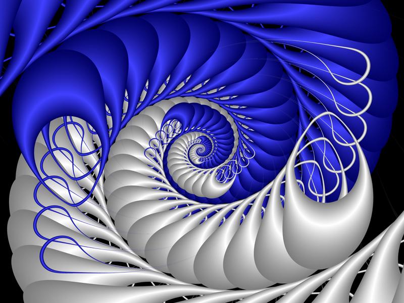 Fractal Art Wallpaper, Blue and White Spiral