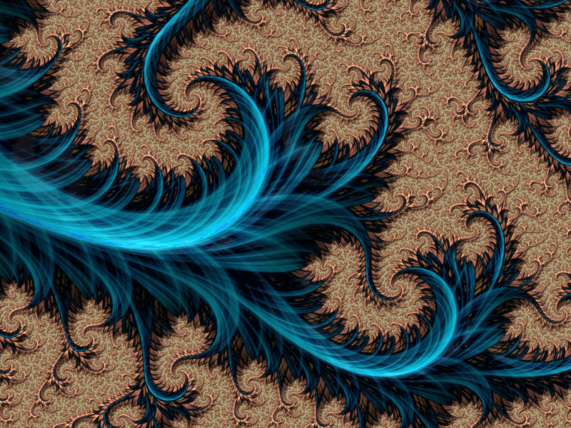 Fractal Art Wallpaper, Blue Copper