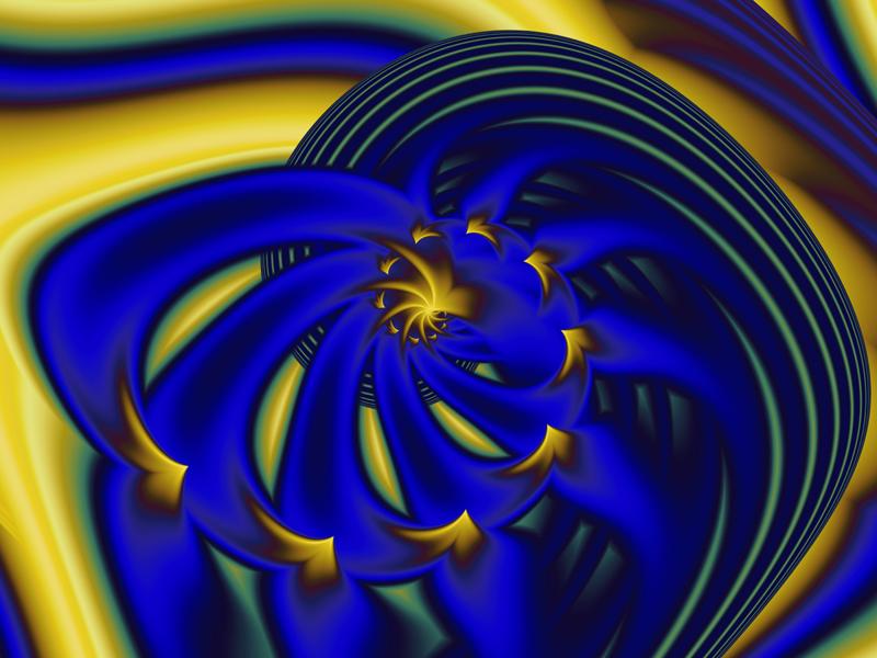 Fractal Art Wallpaper, Blue Gold 5
