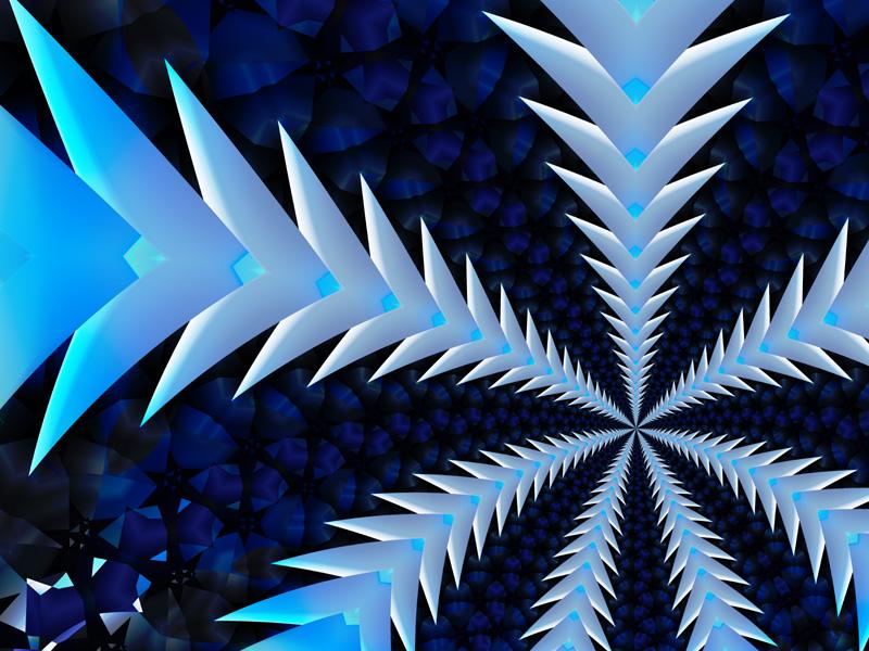 Fractal Art Wallpaper, Blue Metal Flight