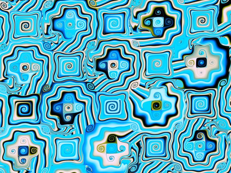 Fractal Art Wallpaper, Blue Mosaic