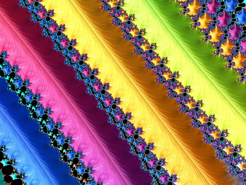 Fractal Art Wallpaper, Blue Pink Yellow Green