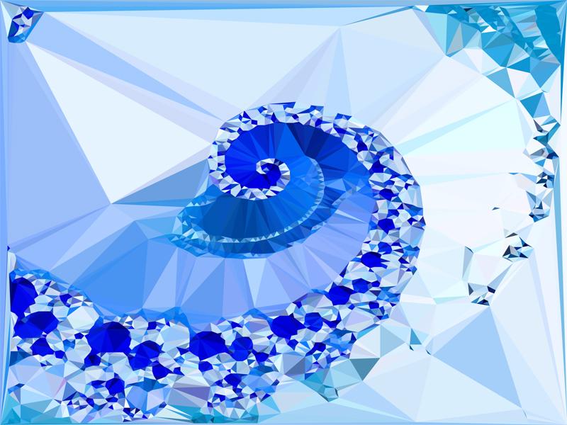 Fractal Art Wallpaper, Blue White Geometric