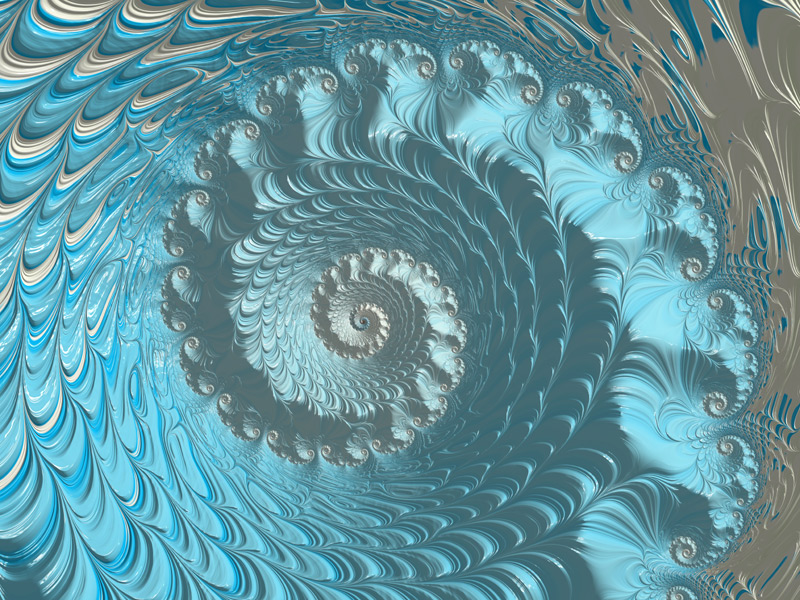 Fractal Art Wallpaper, Blue With Lights