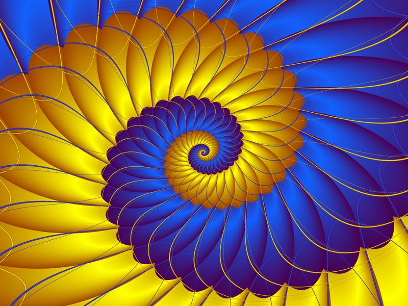 Fractal Art Wallpaper, Blue Yellow 2