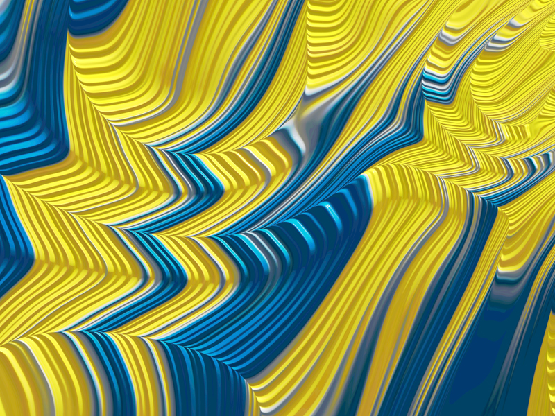 Fractal Art Wallpaper, Blue Yellow Landscape