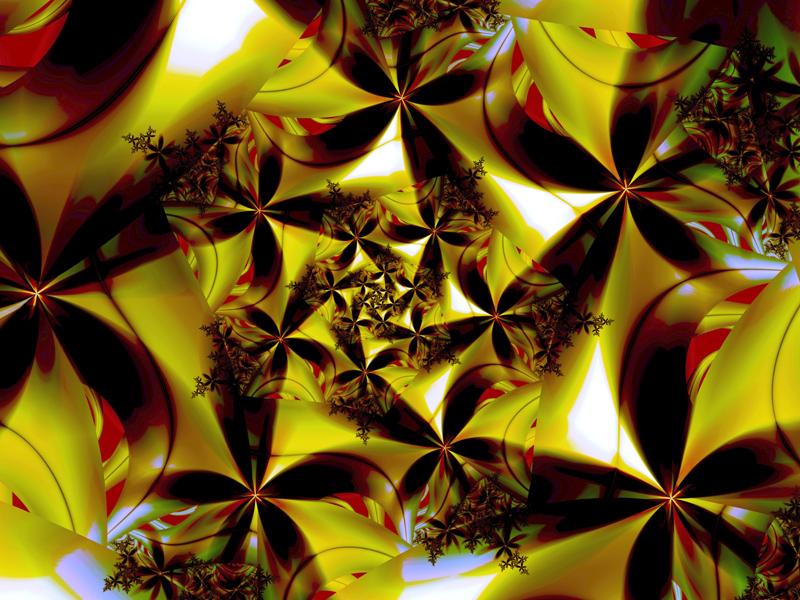Fractal Art Wallpaper, Dark Flowers