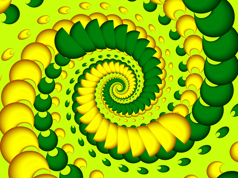 Fractal Art Wallpaper, Gold And Green
