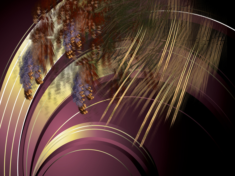 Fractal Art Wallpaper, Gold Flame
