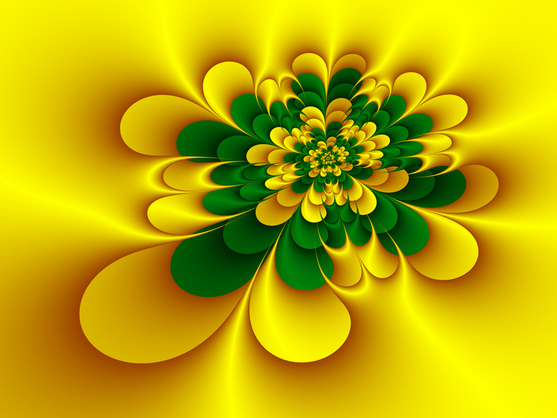 Fractal Art Wallpaper, Gold Green Flower