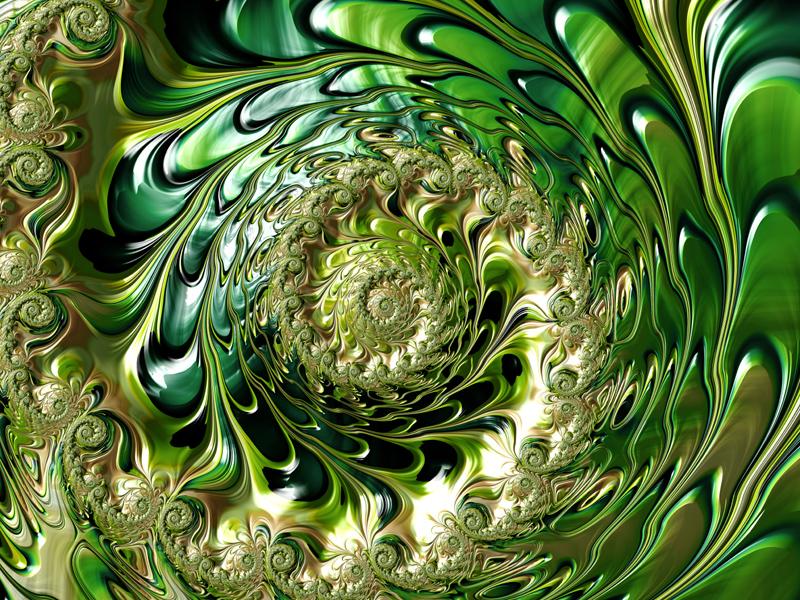 Fractal Art Wallpaper, Gold Green