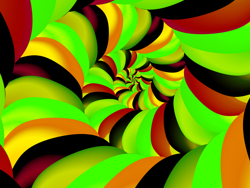 Fractal Art Wallpaper, Gold Red Green