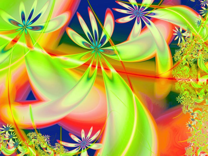Fractal Art Wallpaper, Green Angels