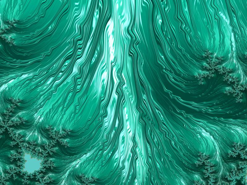 Fractal Art Wallpaper, Green Aqua Frax
