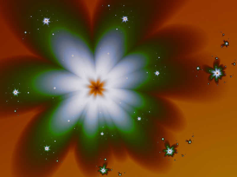 Fractal Art Wallpaper, Green Flowers 2