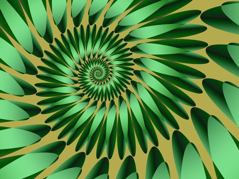 Fractal Art Wallpaper, Green Gold
