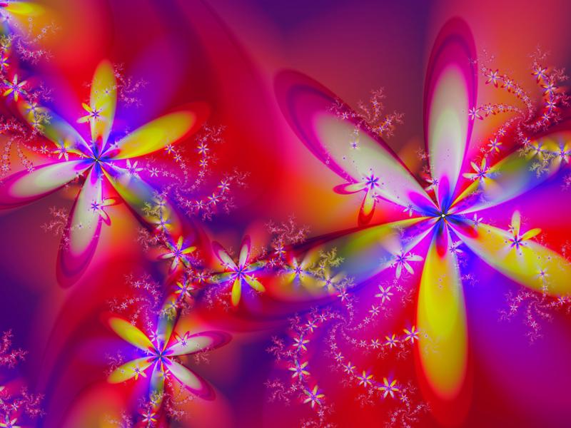 Fractal Art Wallpaper, Holiday Flowers
