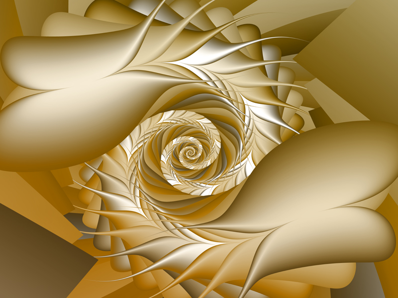 Fractal Art Wallpaper, New Gold Flowers