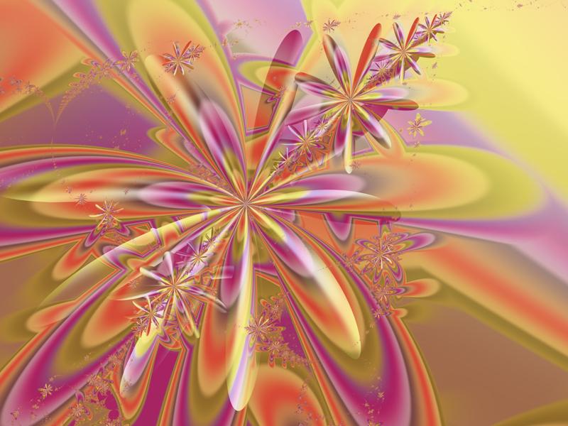 Fractal Art Wallpaper, Orange Pink Flowers