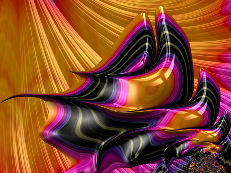 Fractal Art Wallpaper, Pink Black Gold Balance