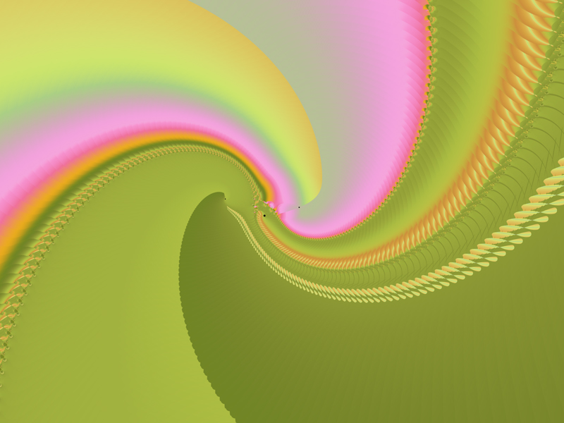 Fractal Art Wallpaper, Pink & Green Curves