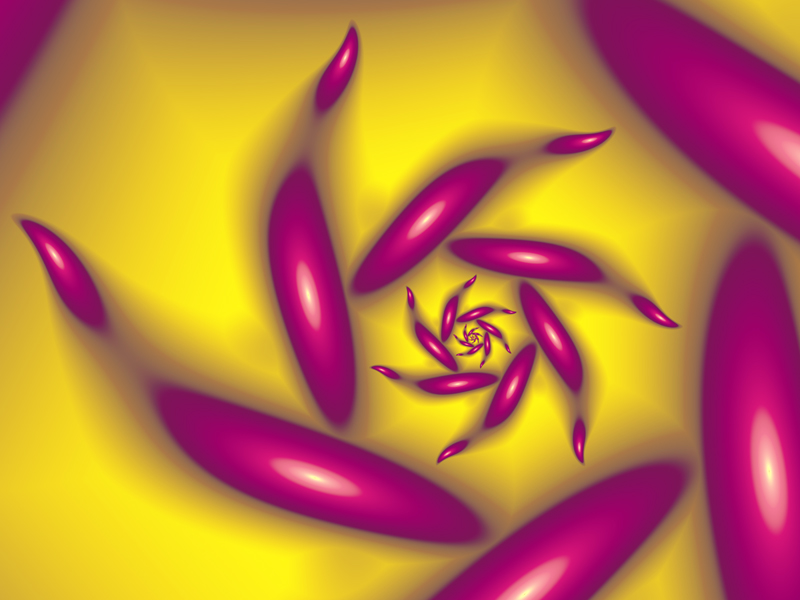 Fractal Art Wallpaper, Pink In Yellow