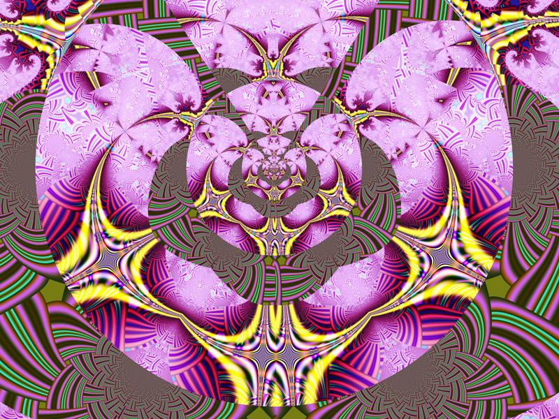 Fractal Art Wallpaper, Pink Yellow Adventure