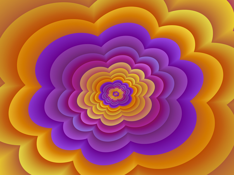 Fractal Art Wallpaper, Purple Orange