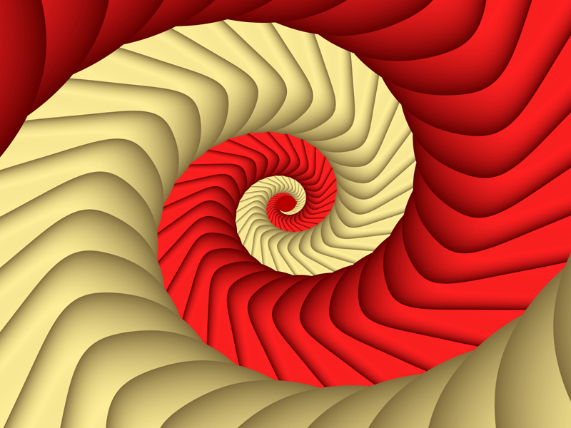 Fractal Art Wallpaper, Red Gold Curve