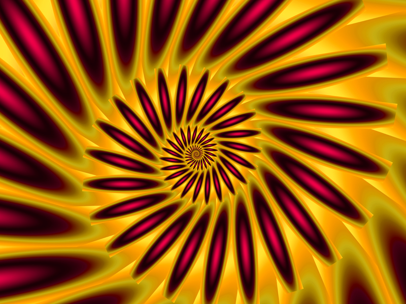 Fractal Art Wallpaper, Red Orange Spiral