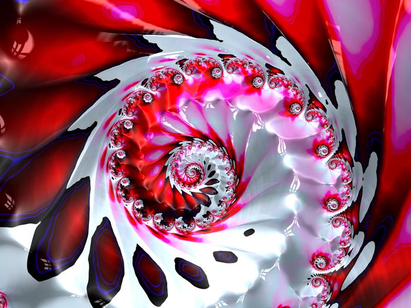 Fractal Art Wallpaper, Red White Extravaganza