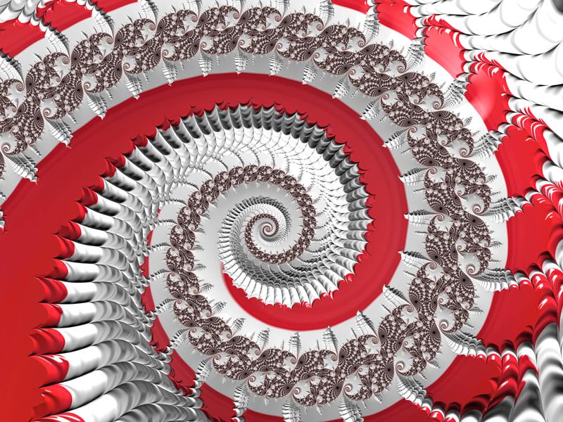 Fractal Art Wallpaper, Red White Spiral