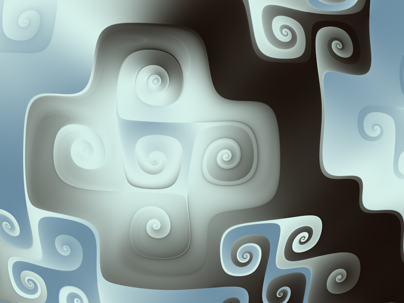Fractal Art Wallpaper, Silver Blues