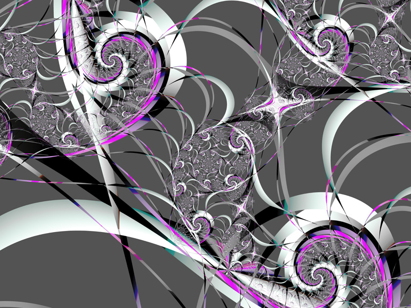 Fractal Art Wallpaper, Silver Ribbons