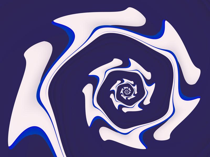 Fractal Art Wallpaper, White On Blue