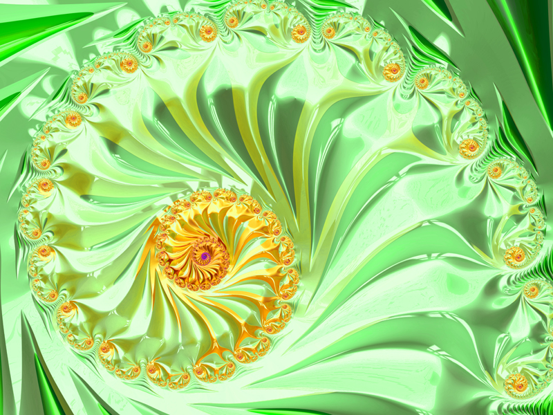 Fractal Art Wallpaper, Yellow Green Frax