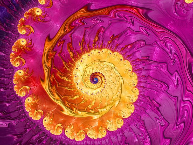 Fractal Art Wallpaper, Yellow Pink