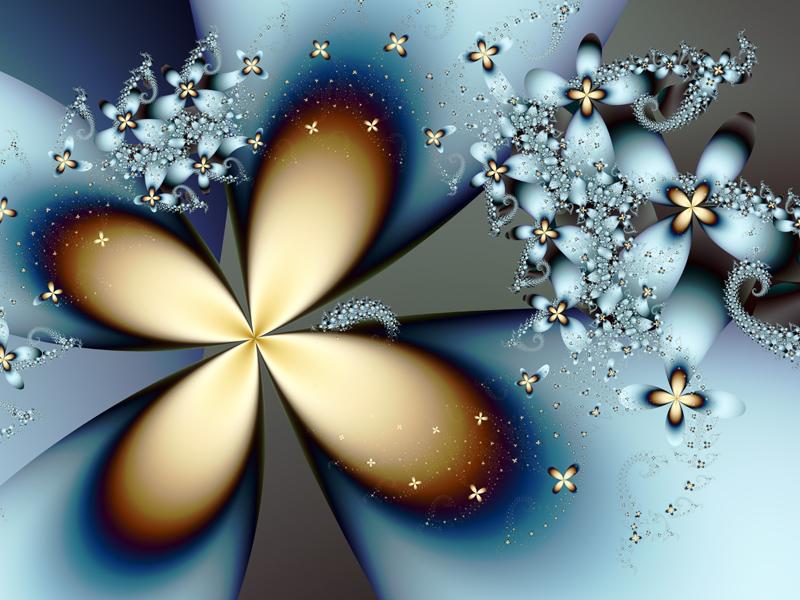 Fractal Art Wallpaper, Blue Gold 4