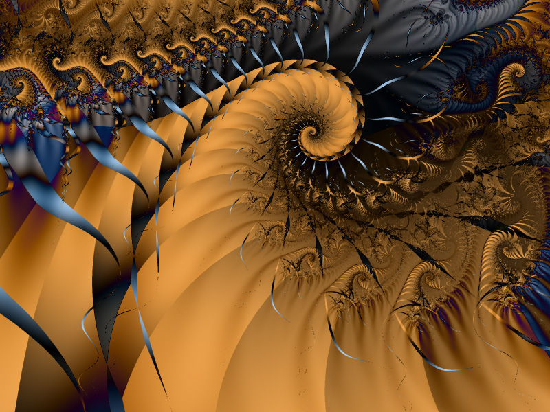 Fractal Art Wallpaper, Blue Gold