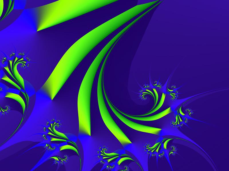 Fractal Art Wallpaper, Blue Green 2