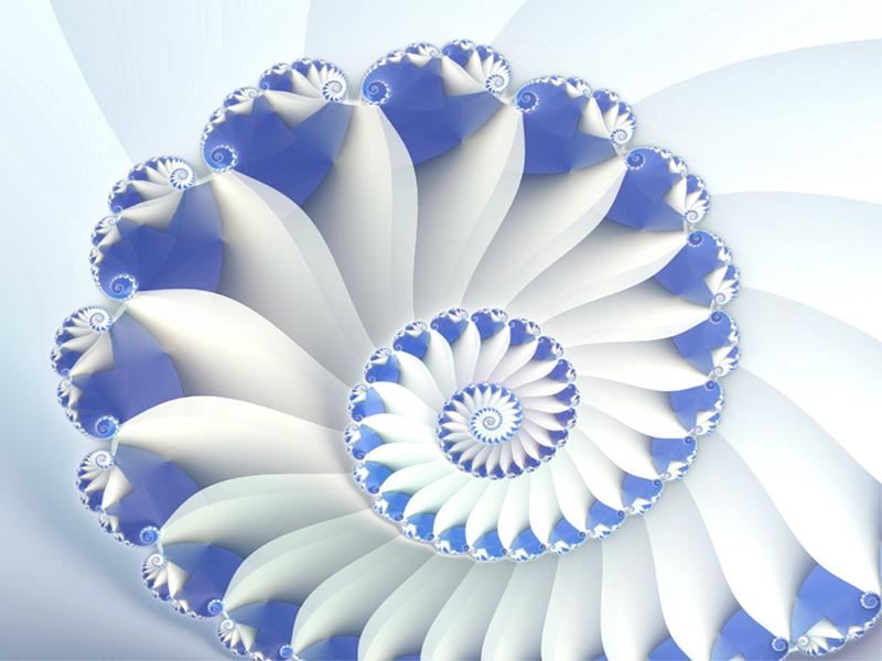 Fractal Art Wallpaper, Blue Nautilus