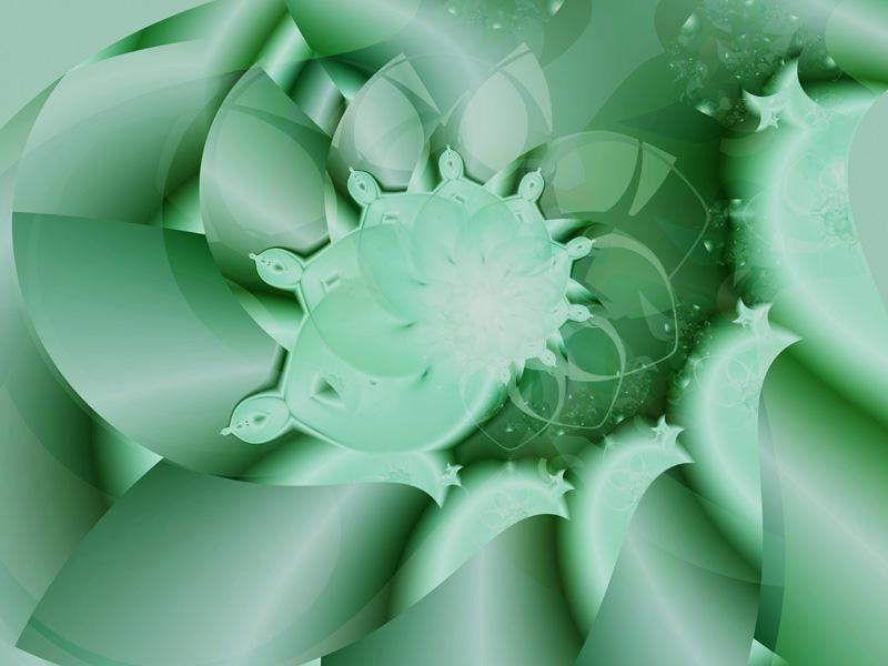 Fractal Art Wallpaper, Green Bud