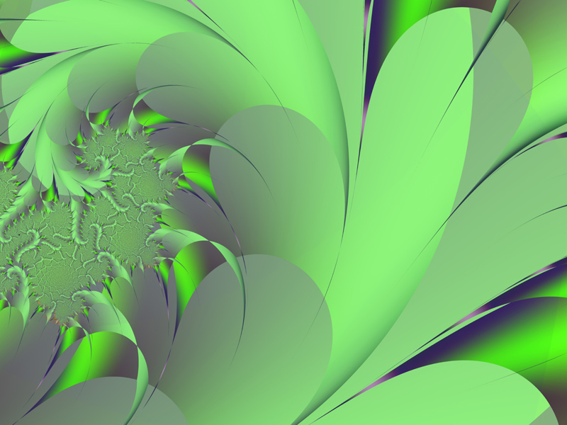 Fractal Art Wallpaper, Green Leaf