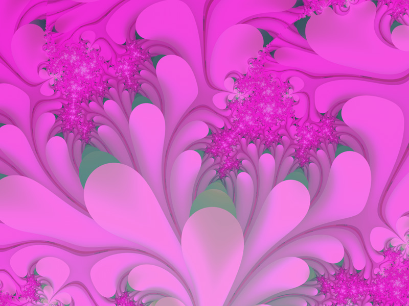 Fractal Art Wallpaper, Pink Leaves
