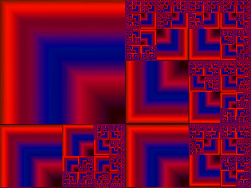 Fractal Art Wallpaper, Red Blue Square