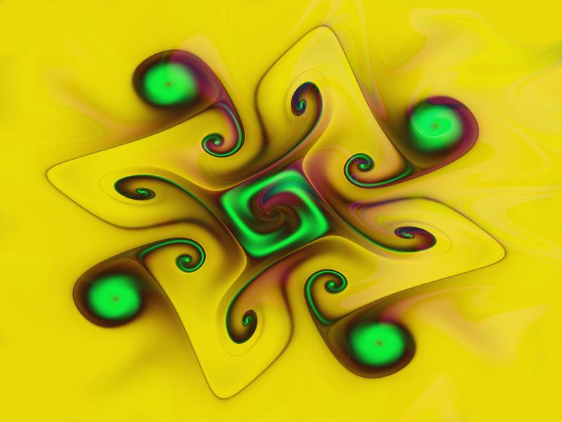 Fractal Art Wallpaper, Yellow Gnarl