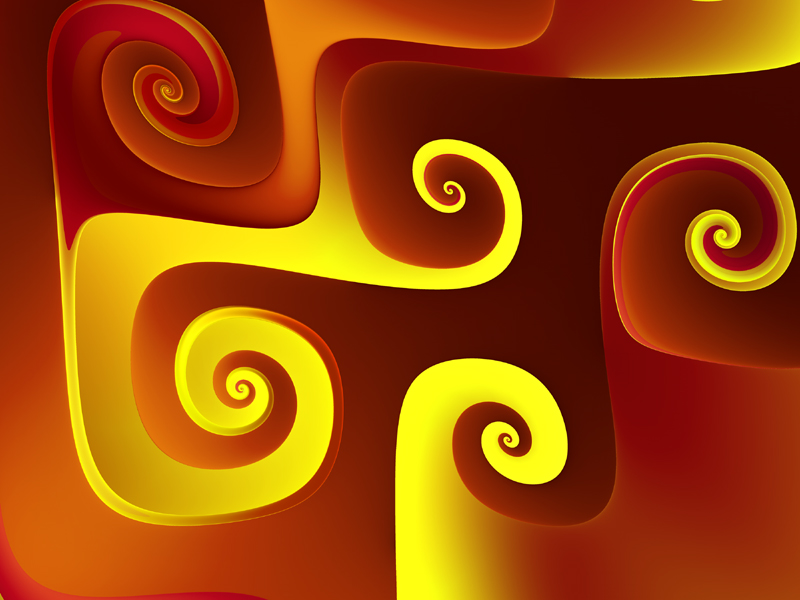 Fractal Art Wallpaper, Yellow On Red