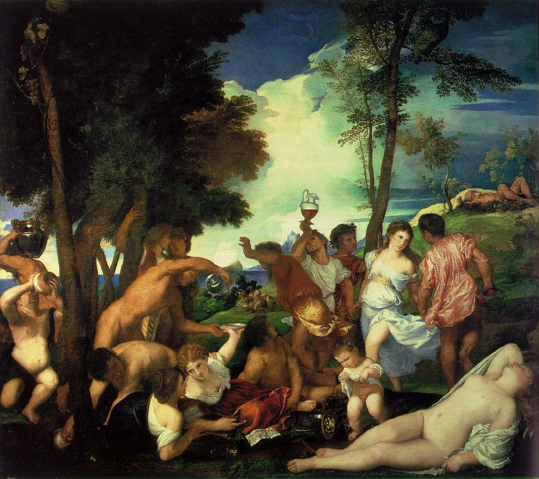 Bacchanal of the Andrians, Titian, 1523-25